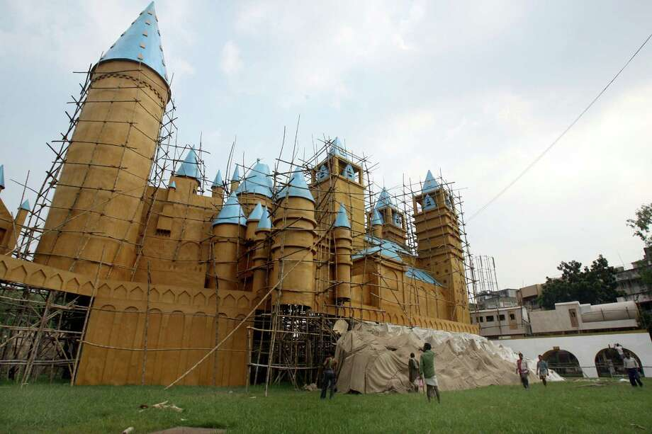 This temporary castle, Kolkata, India, was a replica of Hogwarts, from the Harry Potter books and movies, erected in 2007 for a four-day festival to worship the Hindu Goddess Durga. Photo: DESHAKALYAN CHOWDHURY, AFP/Getty Images / 2007 AFP