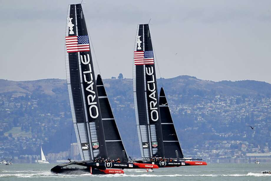 Oracle Team USA, seen here on practice runs last week, has been caught using illegal weights. Photo: Brant Ward, The Chronicle
