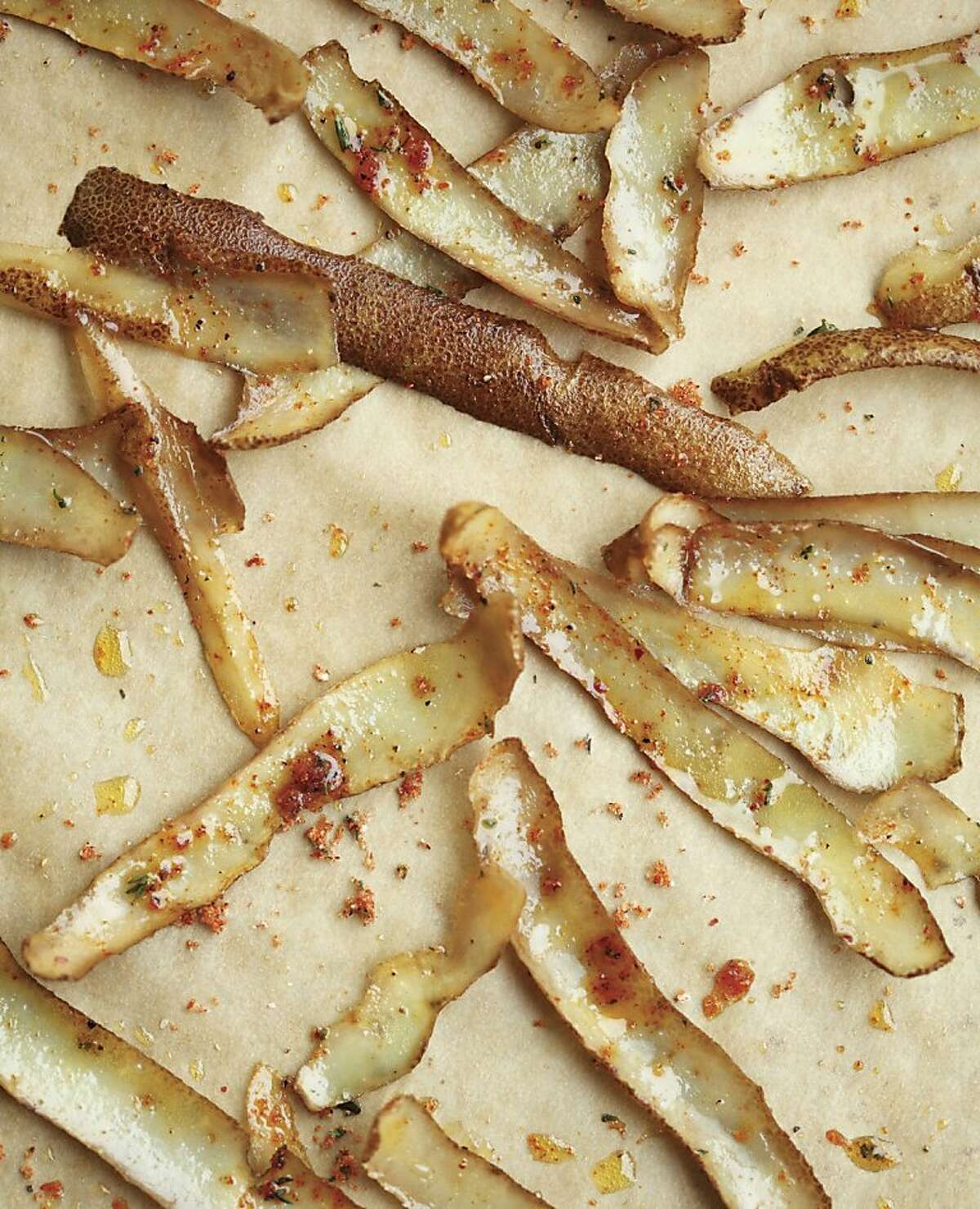 """Potato Skin-Bacon Fat Chips from the book, ?'Root to Stalk Cooking,?"""" by Tara Duggan from Ten Speed Press."""