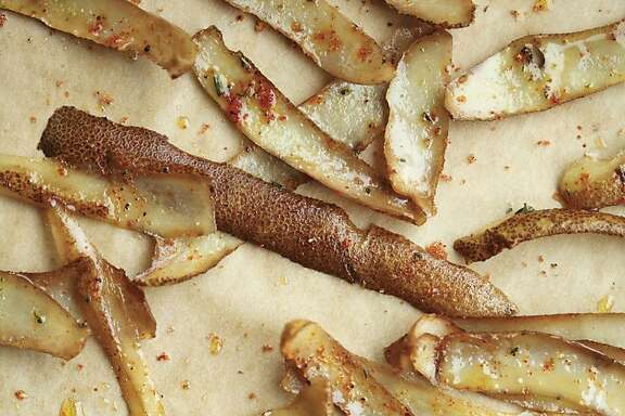 Potato Skin-Bacon Fat Chips from the book, ÒRoot to Stalk Cooking,Ó by Tara Duggan from Ten Speed Press.