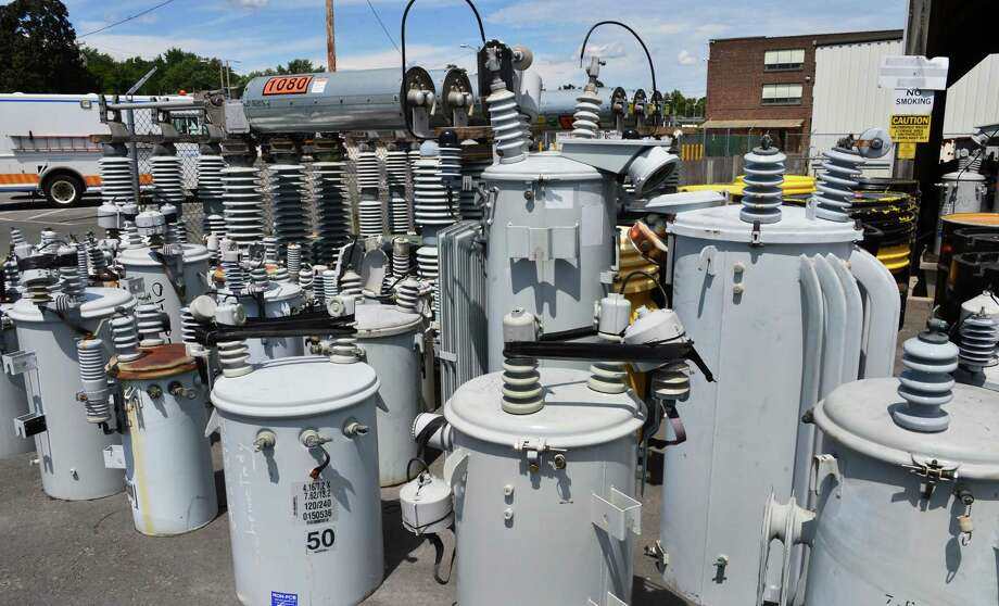 Stockpiled transformers at National Grid's New York State Eastern Region Headquarters Tuesday, Aug. 6, 2013, in Albany, N.Y.  (John Carl D'Annibale / Times Union) Photo: John Carl D'Annibale / 00023434A