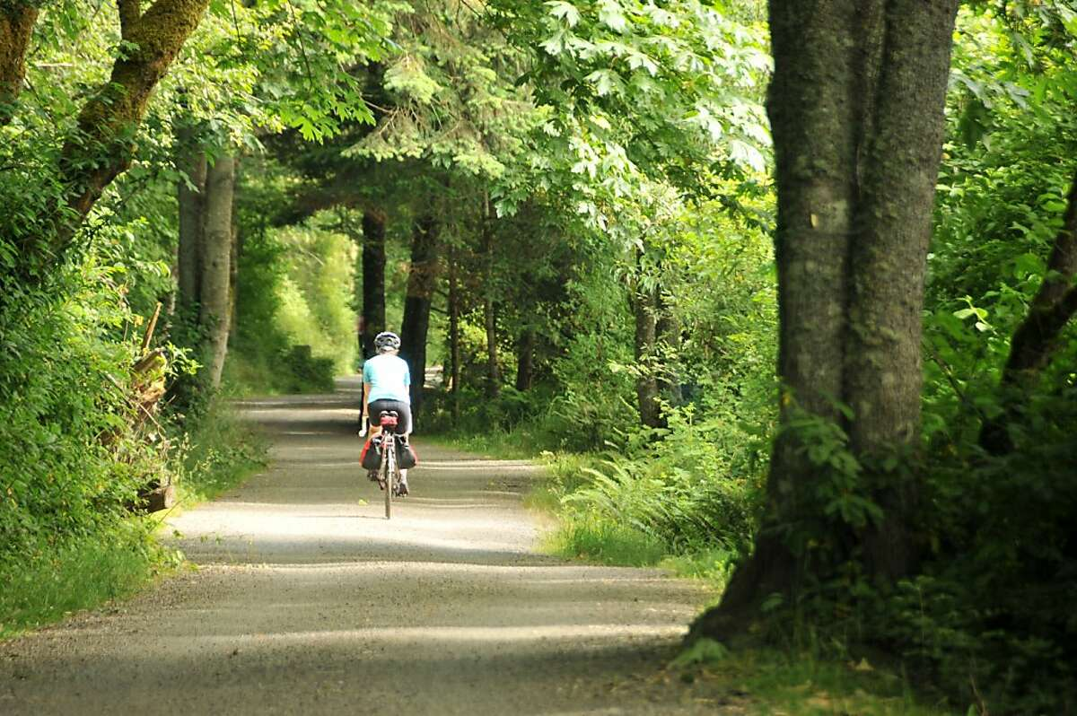 Cycling through woodlands en route to Saanich on the Lochside Trail.