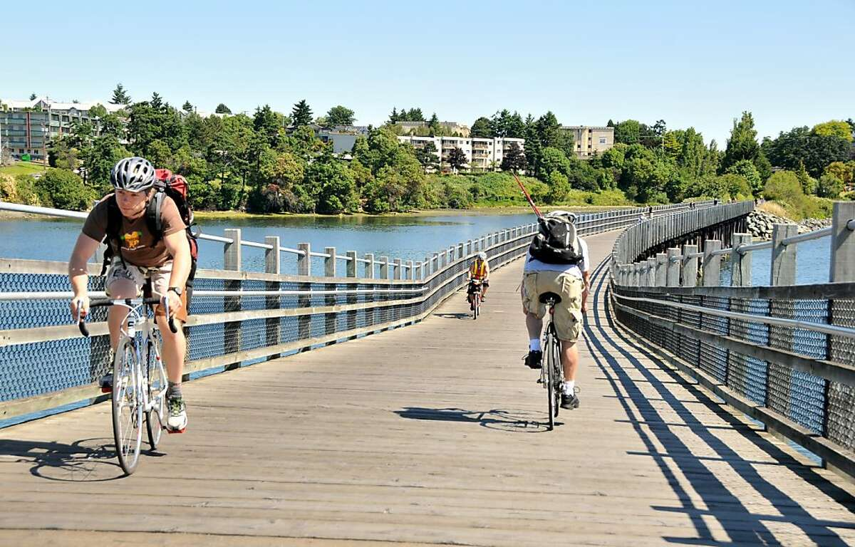Selkirk Trestle, a wooden bridge over the Gorge waterway, is part of the Galloping Goose Trail.