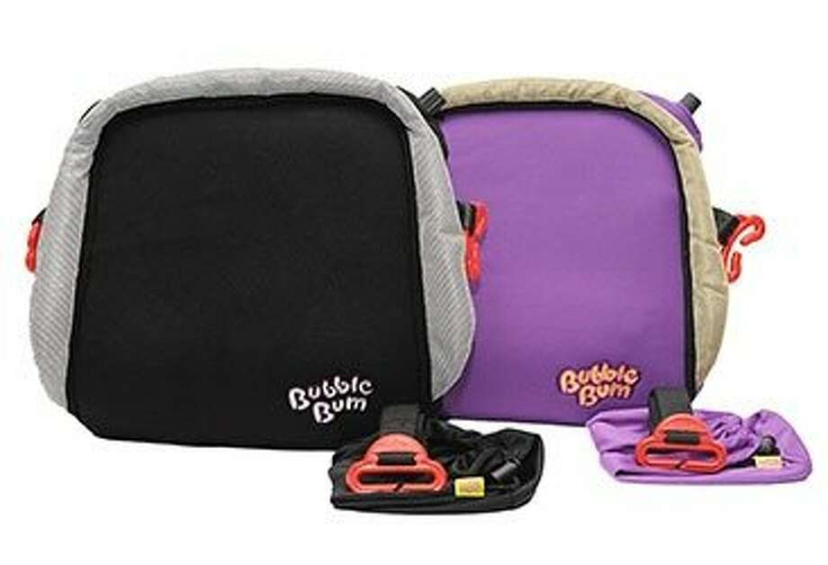 The BubbleBum is an inflatable pad with belt loops that connects to a car's seat belt. Photo: BubbleBum