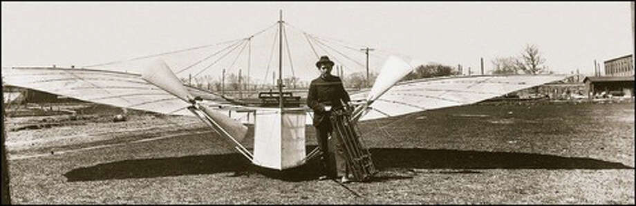 Aviation pioneer Gustave Whitehead with his No. 21 flyer that is beleived to have made the first manned flight in Fairfield in 1901. Photo: Contributed Photo / Fairfield Citizen contributed