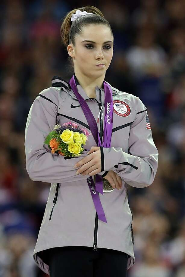 In this Aug. 5, 2012 file photo, silver medallist McKayla Maroney, of the United States, stands during the podium ceremony for the artistic gymnastics women's vault finals at the 2012 Summer Olympics in London. Maroney's unimpressed reaction following her performance let the world know, in a moment that became one of the sports photos of the year and the sports-meme-generator of the year, that she wasn't exactly thrilled over not doing enough to take the gold. (AP Photo/Julie Jacobson, File) Photo: Julie Jacobson, Associated Press