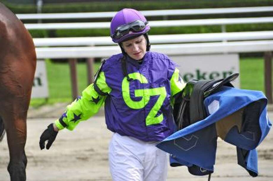 Rosie Napravnik, riding for Gee Zee Stables. (George Zilberman)