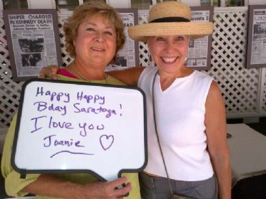 Joan Heffler and friend Linda Ruberto were at the track today for the first time this year and we celebrated the track's birthday with a sentiment. (Joan Heffler)