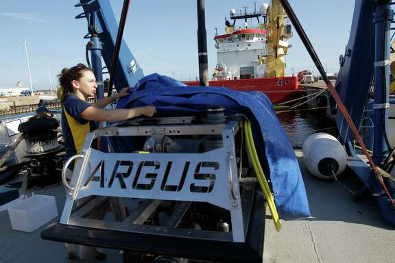 Katy Croff Bell, vice president of Ocean Exploration Trust, talks about the remotely operated underwater vehicle named Argus, one of two ROVs, aboard the Exploration Vessel Nautilus Tuesday, Aug. 13, 2013, in Galveston. ( Melissa Phillip / Houston Chronicle )