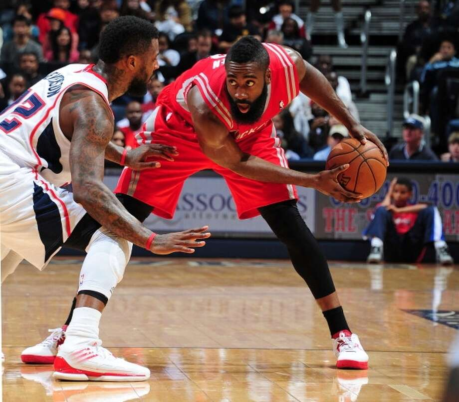 Second game twice as nice  Harden followed up his stellar first game with a 45-point, seven-rebound effort in a 109-102 victory over the Hawks. Photo: Scott Cunningham, NBAE Via Getty Images