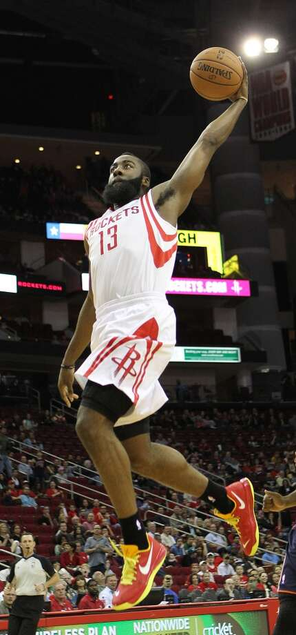 Well-rounded player  Harden notched his first career triple-double on Feb. 2, 2013 against the Bobcats, recording 21 points, 11 assists and 11 rebounds in 40 minutes in a 14-point winning effort by the Rockets at home. Photo: Nick De La Torre, Chronicle