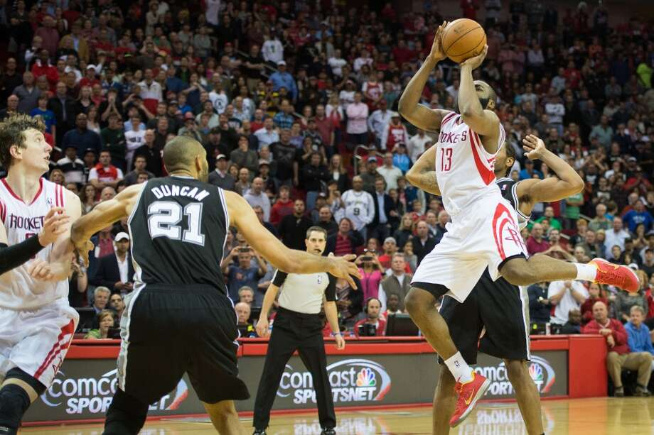 Coming through with the game on the line  James Harden was responsible for two game-winning shots in the 2012-13 season. A running jumper with 4.5 seconds left against the Spurs that gave the Rockets a 96-95 win on March 24. A three-pointer at the buzzer on April 9 gave the Rockets a 101-98 win over the Suns after the referees reviewed the shot and determined Jermaine O'Neal goal tended the shot. Photo: Smiley N. Pool, Chronicle
