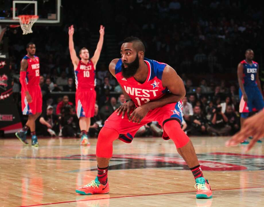 All-Star GameIn his All-Star debut, Harden scored 15 points, pulled down six boards and dished out three assists in the Western Conference's 143-138 win at Toyota Center. Photo: James Nielsen, Chronicle