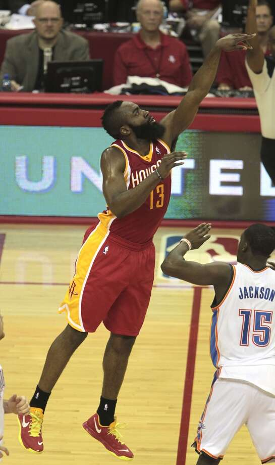 Career night  The beard saved his best game for his old OKC buds. Harden scored a career-high 46 points (including a half-court heave that beat the third quarter buzzer) and had seven rebounds and six assists in a 122-119 victory over the Thunder on Feb. 20. Photo: James Nielsen, Chronicle