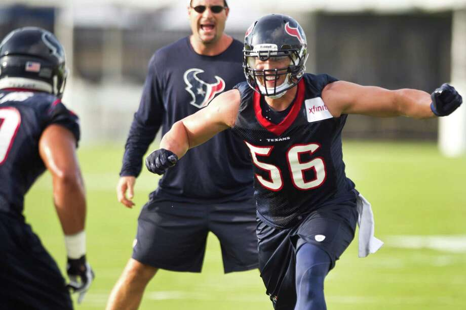 Houston Texans linebacker Brian Cushing runs a drill during Texans training camp at the Methodist Training Center Friday, July 26, 2013, in Houston.  ( Brett Coomer / Houston Chronicle ) Photo: Brett Coomer, Staff / © 2013 Houston Chronicle