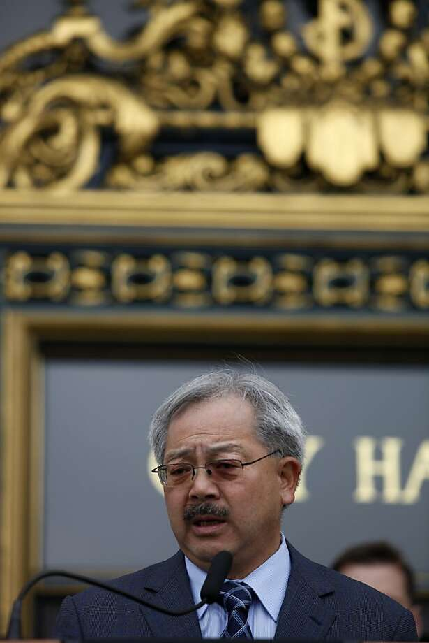 Ed Lee, San Francisco Mayor, speaks at a press conference announcing the perimeters for a taxpayer-funded loan assistance program aimed at keeping first responders in San Francisco at City Hall in San Francisco, Calif. on July 30, 2013. Photo: Katie Meek, The Chronicle