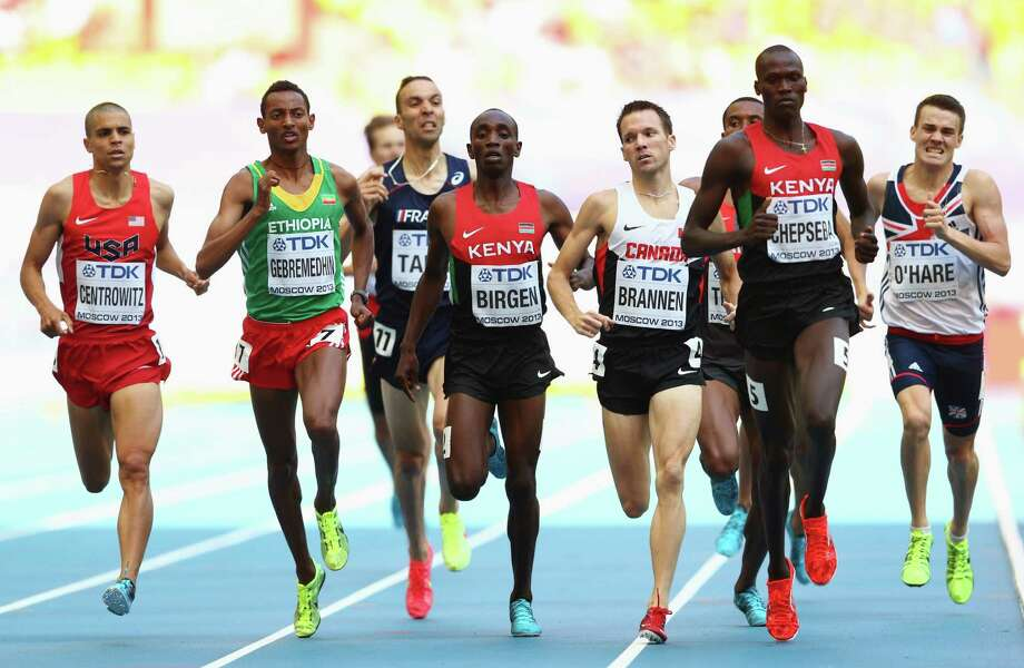 American Matthew Centrowitz (far left) competes in, and advances out of, his heat of the 1,500 meters at the world championships at the same stadium in which his father Matt was denied an opportunity to race because of the 1980 Moscow Olympics boycott. Photo: Cameron Spencer / Getty Images