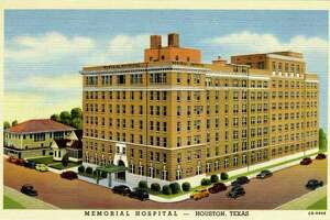 UNITED STATES - CIRCA 1942:  Vintage linen postcard showing the exterior of Memorial Hospital and the surrounding area.    (Photo by Lake County Museum/Getty Images)