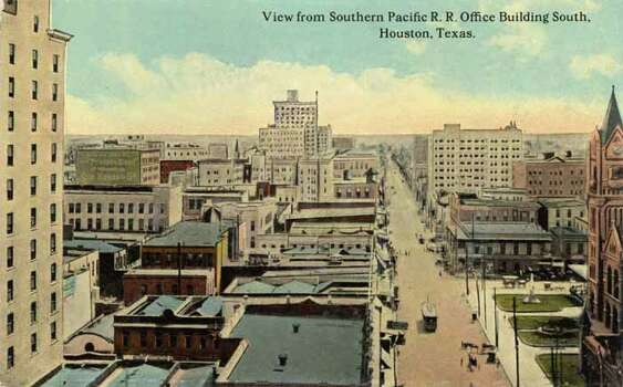 HOUSTON - 1911:  Vintage postcard looking south from the Southern Pacific Railroad Office Building in Houston. (Photo by Lake County Museum/Getty Images) Photo: Curt Teich Postcard Archives, Getty Images / Archive Photos
