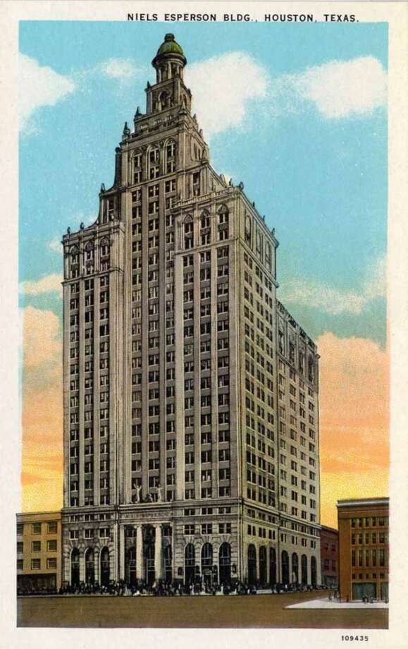 HOUSTON - 1926:  Vintage postcard showing the exterior of the Art Deco style Niels Esperson Building. (Photo by Lake County Museum/Getty Images) Photo: Curt Teich Postcard Archives, Getty Images