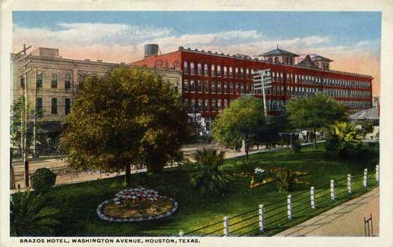 HOUSTON - 1909:  Vintage postcard showing the Brazos Hotel on Washington Avenue in Houston  . (Photo by Lake County Museum/Getty Images) Photo: Curt Teich Postcard Archives, Getty Images / Archive Photos