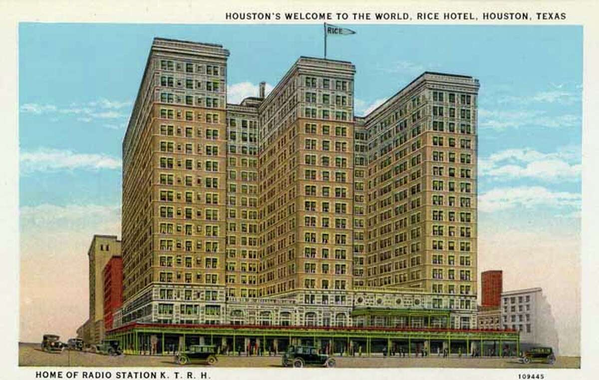 HOUSTON - 1926: Vintage postcard showing the exterior of the Rice Hotel and a view of Texas Avenue. (Photo by Lake County Museum/Getty Images)