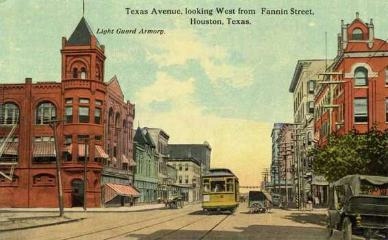 HOUSTON - 1911:  Vintage postcard looking West down Texas Avenue . (Photo by Lake County Museum/Getty Images) Photo: Curt Teich Postcard Archives, Getty Images / Archive Photos