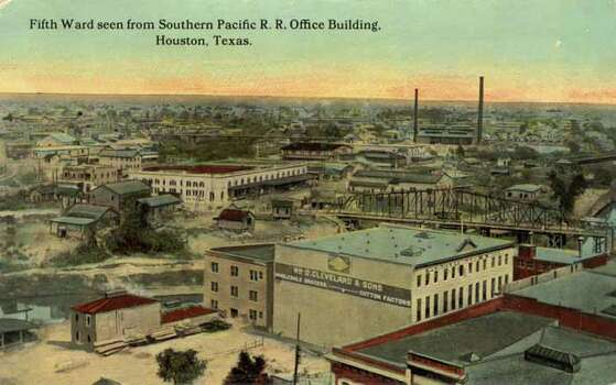 HOUSTON - 1911:  Vintage postcard showing the Fifth Ward as seen from the Southern Pacific Railroad Office Building. (Photo by Lake County Museum/Getty Images) Photo: Curt Teich Postcard Archives, Getty Images / Archive Photos