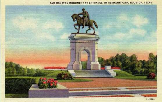 HOUSTON - 1936:  Vintage postcard showing the Sam Houston Monument at the entrance to Hermann Park in Houston. (Photo by Lake County Museum/Getty Images) Photo: Curt Teich Postcard Archives, Getty Images / Archive Photos