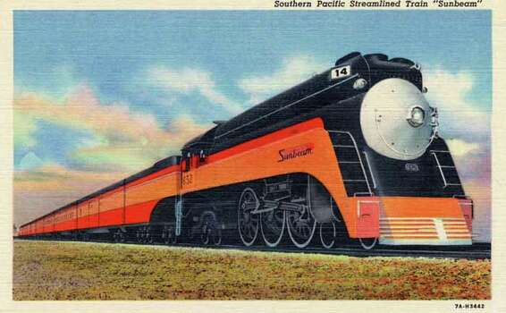 "HOUSTON - 1937:  Vintage postcard showing the ""Sunbeam,"" a Southern Pacific Streamlined Train. (Photo by Lake County Museum/Getty Images) Photo: Curt Teich Postcard Archives, Getty Images / Archive Photos"