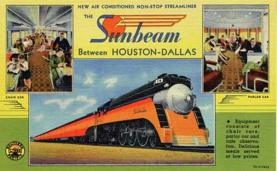 "HOUSTON - 1937:  Vintage postcard showing the train, ""Sunbeam,"" along with two smaller views of train car interiors. (Photo by Lake County Museum/Getty Images) Photo: Curt Teich Postcard Archives, Getty Images / Archive Photos"