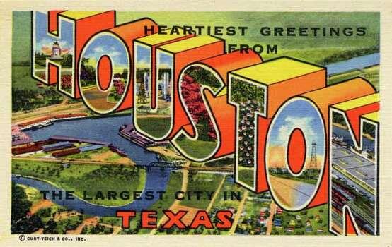 "HOUSTON - 1947:  Vintage postcard showing an aerial view of the Turning Basin and Port Houston with ""HOUSTON"" superimposed over the image. (Photo by Lake County Museum/Getty Images) Photo: Curt Teich Postcard Archives, Getty Images / Archive Photos"