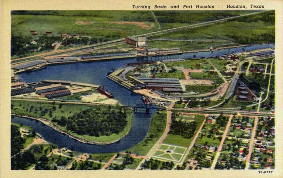HOUSTON - 1947:  Vintage postcard showing an aerial view of the Port and Turning Basin in Houston. (Photo by Lake County Museum/Getty Images) Photo: Curt Teich Postcard Archives, Getty Images / Archive Photos