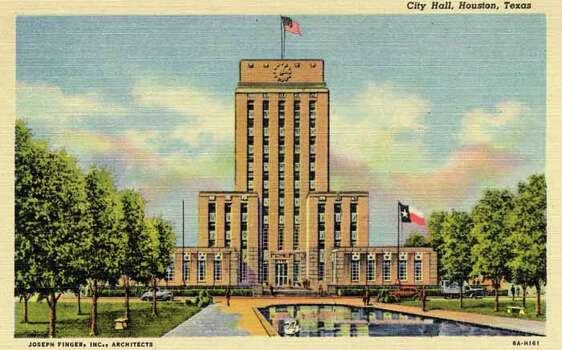 HOUSTON - 1938:  Vintage postcard showing the Houston City Hall. (Photo by Lake County Museum/Getty Images) Photo: Curt Teich Postcard Archives, Getty Images / Archive Photos
