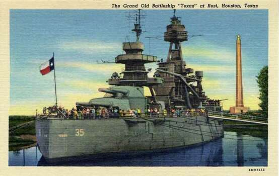 HOUSTON - 1948:  Vintage postcard showing a battleship docked in Houston. (Photo by Lake County Museum/Getty Images) Photo: Curt Teich Postcard Archives, Getty Images / Archive Photos