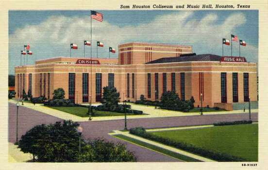 HOUSTON - 1948:  Vintage postcard showing the Sam Houston Coliseum and Music Hall in Houston. (Photo by Lake County Museum/Getty Images) Photo: Curt Teich Postcard Archives, Getty Images / Archive Photos