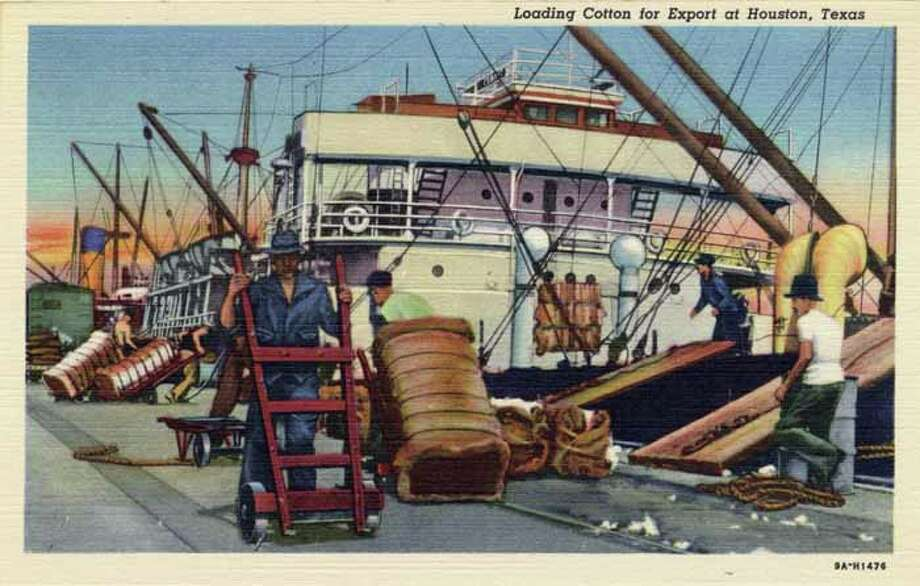 HOUSTON - 1939:  Vintage postcard showing a ship being loaded with bales of cotton at a Houston shipyard. (Photo by Lake County Museum/Getty Images) Photo: Curt Teich Postcard Archives, Getty Images / Archive Photos