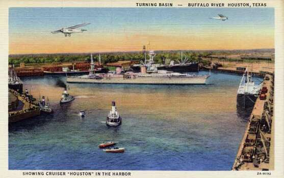 "HOUSTON - 1932:  Vintage postcard showing the ""Houston"" on the Buffalo River. (Photo by Lake County Museum/Getty Images) Photo: Curt Teich Postcard Archives, Getty Images / Archive Photos"