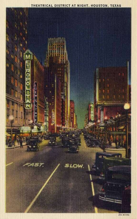 HOUSTON - 1932:  Vintage postcard showing the Houston Theatrical District at night. (Photo by Lake County Museum/Getty Images) Photo: Getty Images