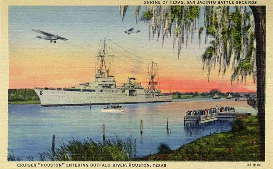 HOUSTON - 1932:  Vintage postcard showing a battleship and pier full of people on the Buffalo River. (Photo by Lake County Museum/Getty Images) Photo: Curt Teich Postcard Archives, Getty Images / Archive Photos