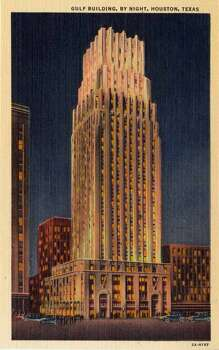 HOUSTON - 1932:  Vintage postcard showing a night view of the Gulf Building in Houston. (Photo by Lake County Museum/Getty Images) Photo: Getty Images