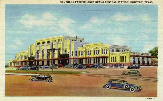 HOUSTON - 1934:  Vintage postcard showing Grand Central Station in Houston. (Photo by Lake County Museum/Getty Images) Photo: Curt Teich Postcard Archives, Getty Images / Archive Photos