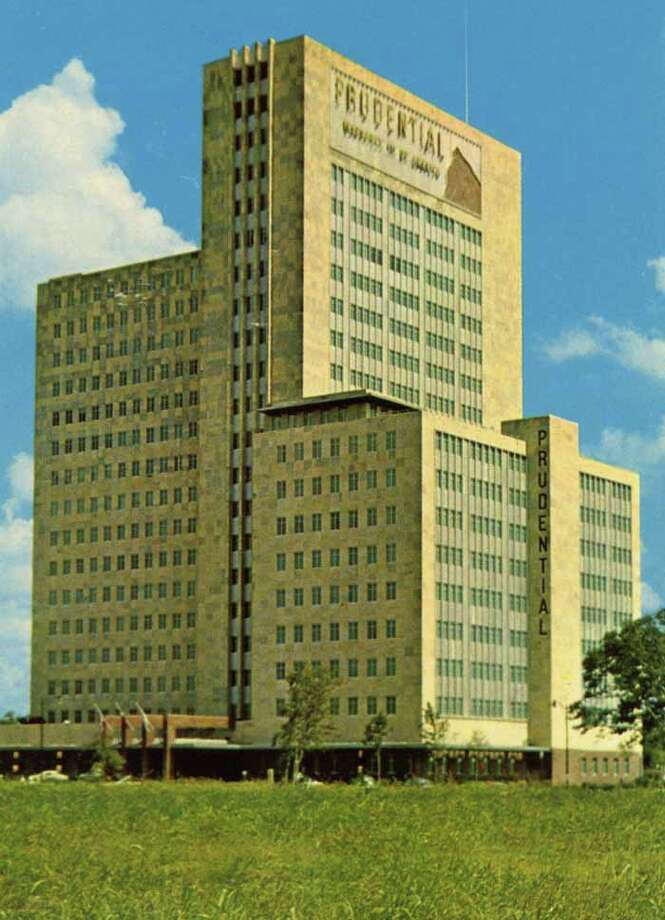 HOUSTON - 1955:  Vintage postcard showing the Prudential Building in Houston. (Photo by Lake County Museum/Getty Images) Photo: Curt Teich Postcard Archives, Getty Images / Archive Photos