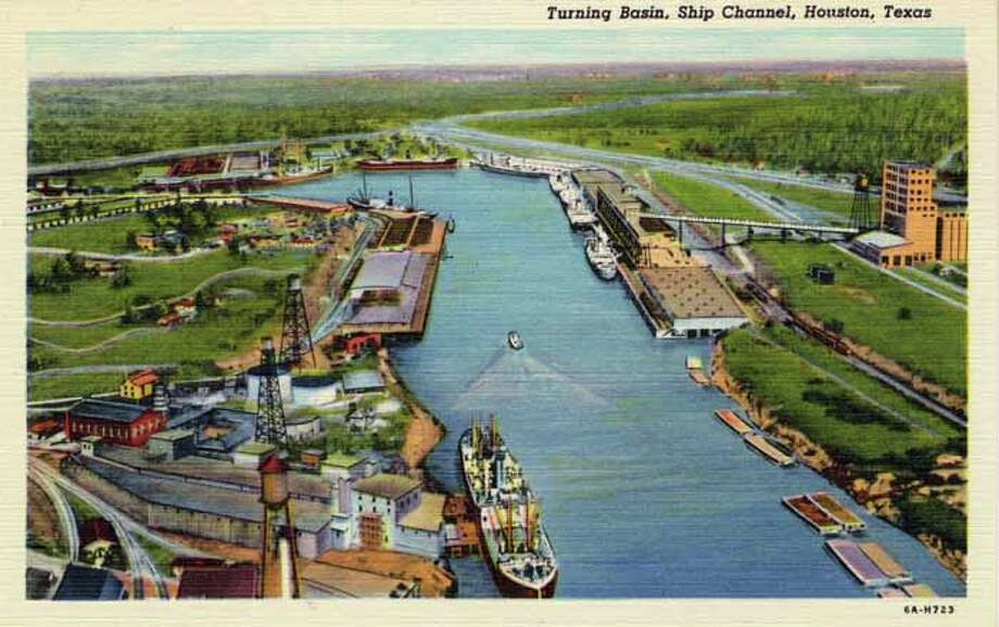 HOUSTON - 1936:  Vintage postcard showing the Turning Basin and shipping channel in Houston. (Photo by Lake County Museum/Getty Images) Photo: Curt Teich Postcard Archives, Getty Images / Archive Photos