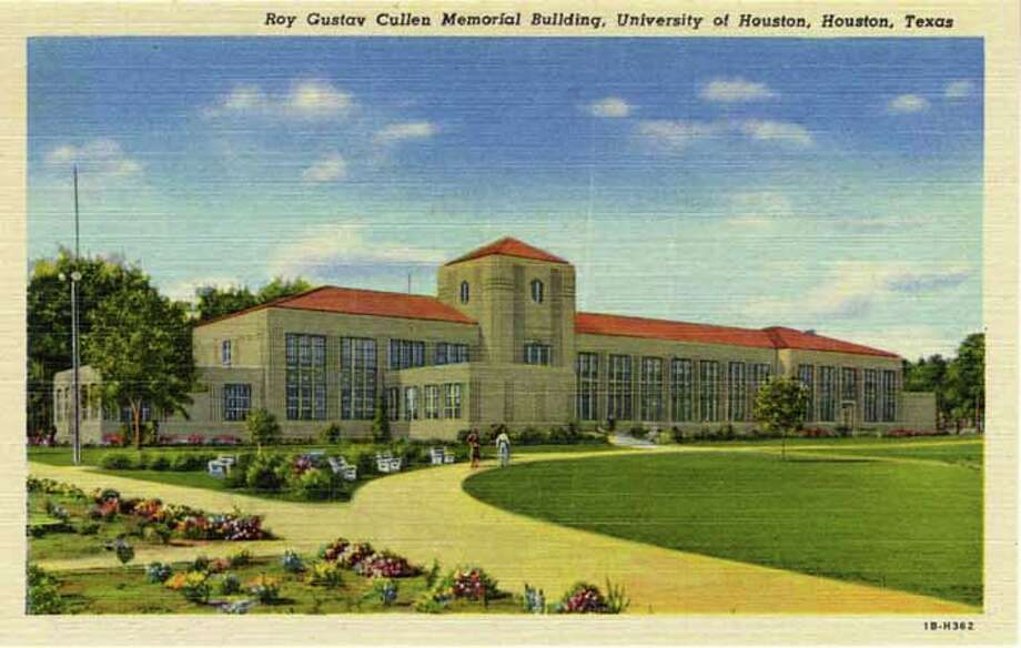 HOUSTON - 1941:  Vintage postcard showing the Roy Gustav Cullen Memorial Building on the campus of the University of Houston. (Photo by Lake County Museum/Getty Images) Photo: Curt Teich Postcard Archives, Getty Images / Archive Photos