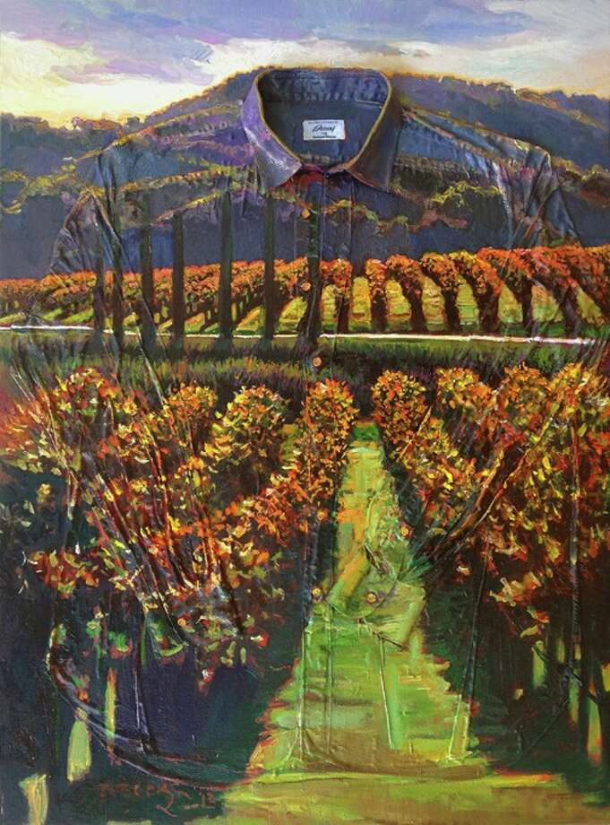 Jessup Cellars's house artist and curator Cynthia Carey and artist Brooks Anderson collaborated on this signature panel. Jessup Cellars is hosting Dressed to the Vines Aug. 15-18 Photo: Dressed To The Vines