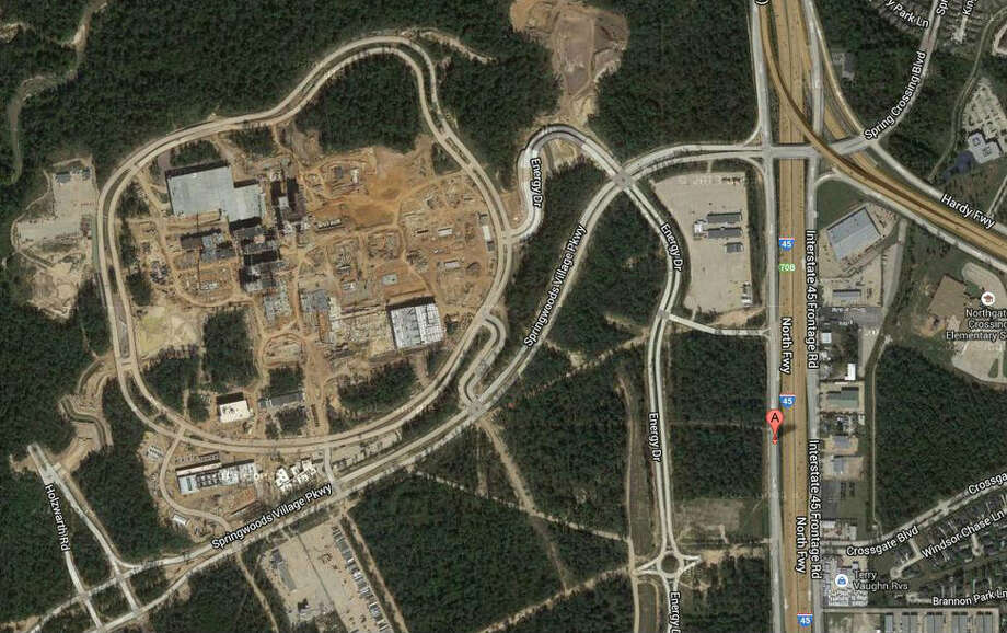 A 2013 Google Maps aerial shot of the Exxon Mobil campus under construction north of Houston. Photo: Google Maps