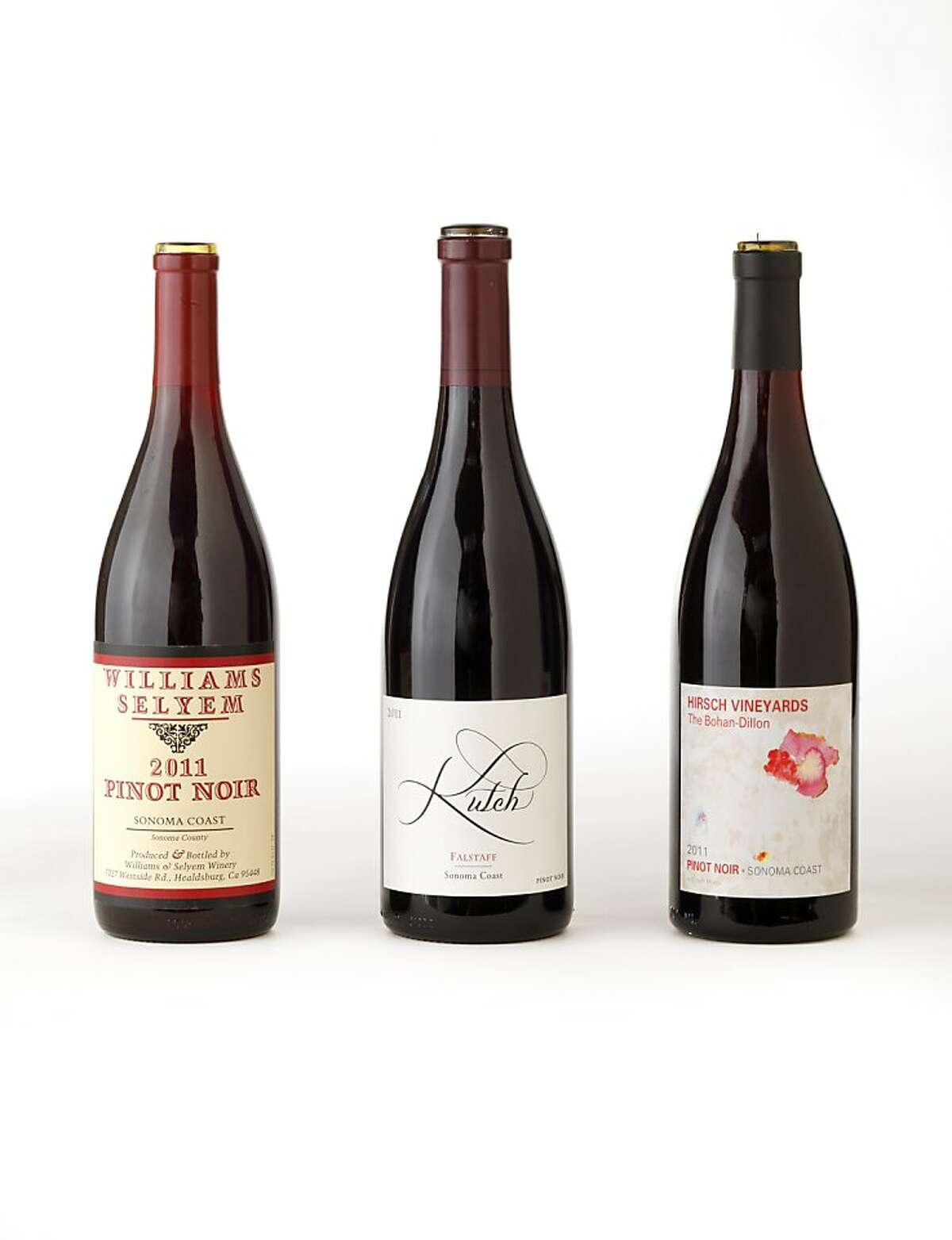 Left-right: (Sonoma Coast Pinot Noir): 2011 Williams Selyem Pinot Noir, 2011 Kutch Wines Falstaff Pinot Noir, 2011 Hirsch Vineyards The Bohan-Dillon Pinot Noir as seen in San Francisco, California, on August 7, 2013.