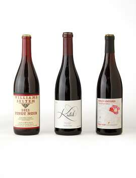 Left-right: (Sonoma Coast Pinot Noir): 2011 Williams Selyem Pinot Noir, 2011 Kutch Wines Falstaff Pinot Noir, 2011 Hirsch Vineyards The Bohan-Dillon Pinot Noir as seen in San Francisco, California, on August 7, 2013.