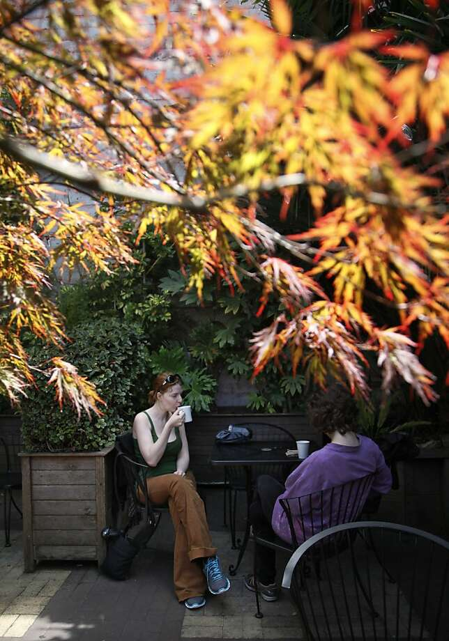 Aubrey Gabbard enjoys coffee with a friend on the patio amid the trees at Lulu Carpenter's downtown Santa Cruz location on Pacific Avenue. Photo: Preston Gannaway, Special To The Chronicle